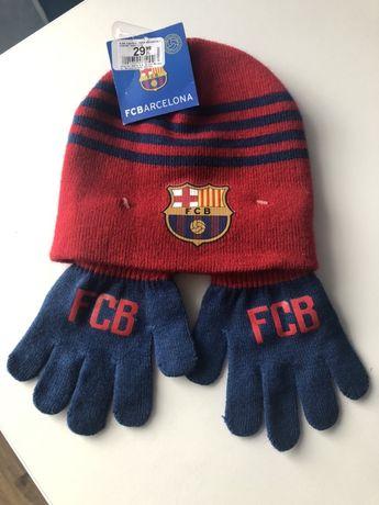 Czapka  i rękawiczki komplet FCBarcelona