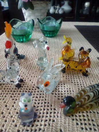 Figurki szklane artystyczne kolorowe szklo śliczne