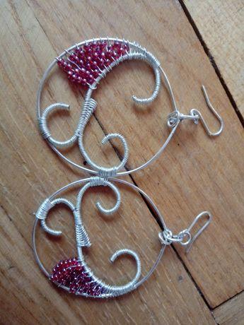 Kolczyki wire wrapping hand made