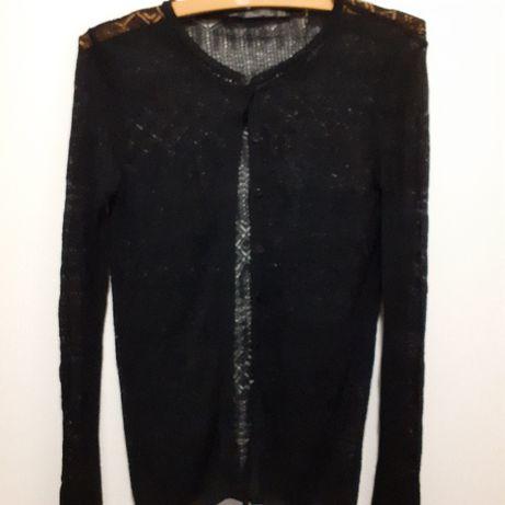 Czarny ażurowy sweterek rozpinany Zara