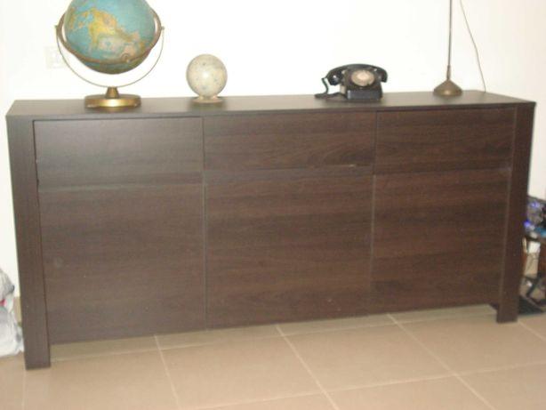 Conjunto de sala wengué (aparador, móvel TV, mesa e 4 cadeiras)