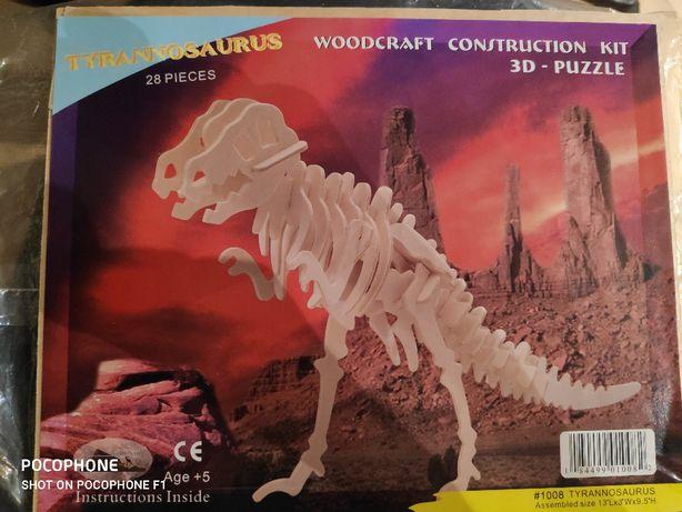 Drewniane puzzle Tyranozaur - nowe BDB+5l.