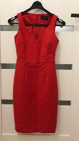 Klasyczna czerwona sukienka MOHITO rozmiar 34