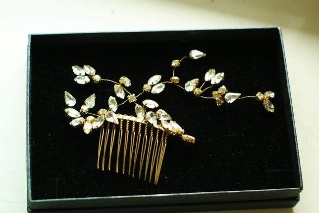 złoto+kryształki ozdoba do włosów