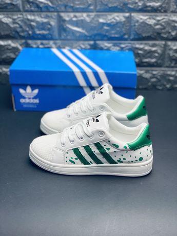 Белые кожаные кроссовки Адидас суперстар, кросівки Adidas Superstar