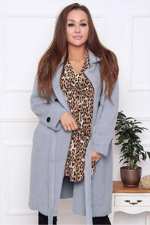 Płaszcz damski z alpaki ciepły wiązany z guzikami