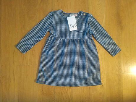 98 NOWA Zara sukienka sukieneczka krata kratka granatowo biała świata