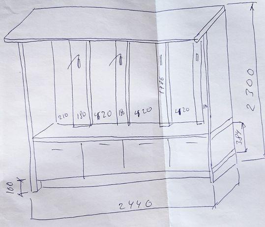 Шкаф одежный 244х230х100 см в хорошем состоянии.