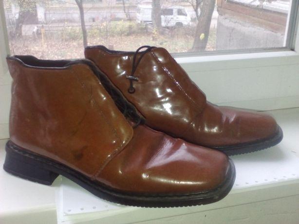 Ботинки, туфли лакированые , кожа.