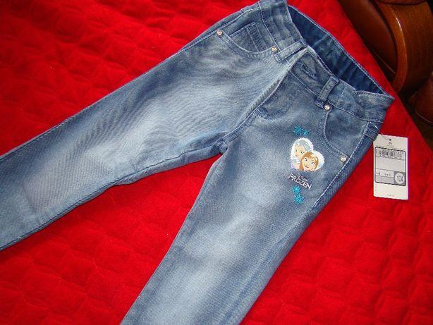 Piękne spodnie jeansy Disney Kraina Lodu C&A Palomino 104