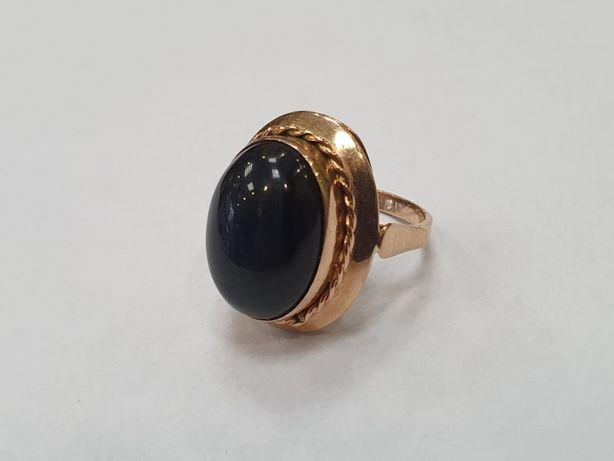 Piękny złoty pierścionek damski/ Retro/ Ciemny kamień/ 585/ 8g/ R14