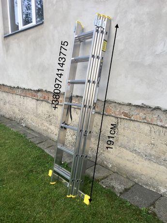 Алюминиевая лестница 3х7 3x7 драбина трьохсекційна стремянка сад