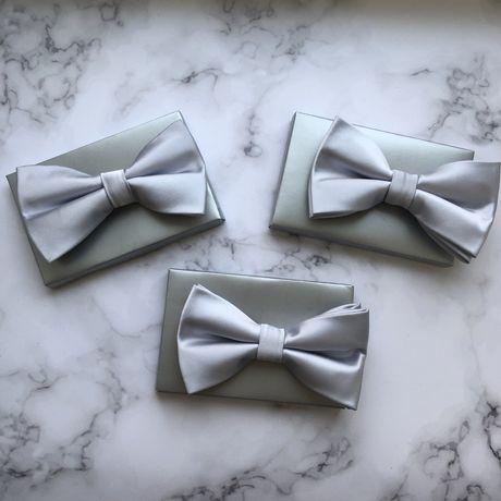 3 шт набор атласные бабочки мужские для свадьбы мальчишника серебро