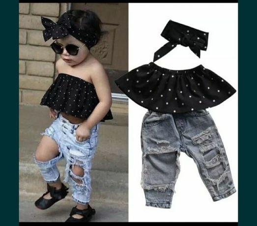 Комплект, костюм, тройка стильний, модний, топик, джинси,