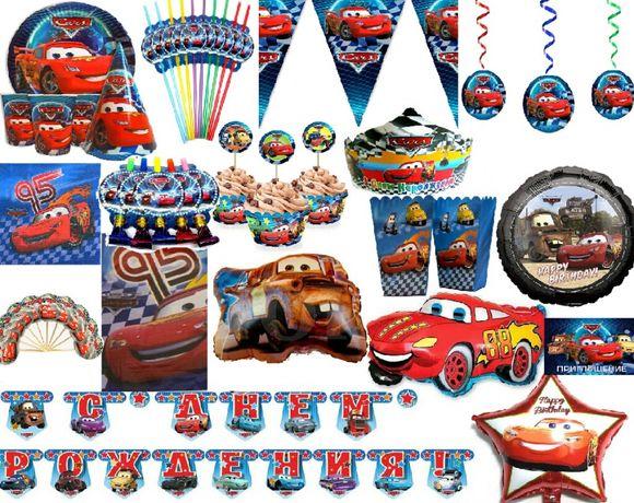 """Декор день рождения """"Тачки""""(кенди бар, скатерть, шарики, бомбаньерка)"""