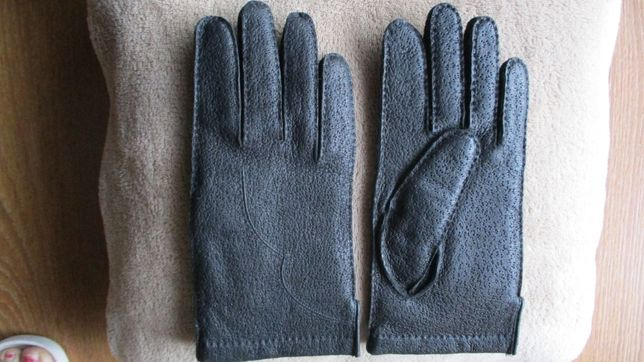 Rękawiczki skórzane czarne damskie Roz.S/M (jak nowe)