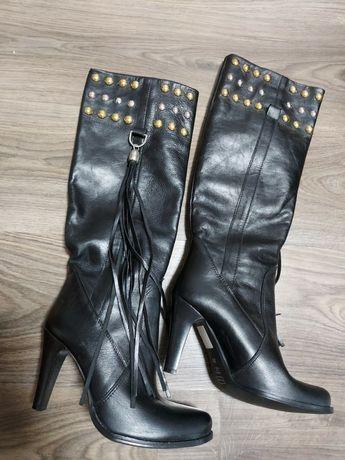Новые кожаные Итальянские ботфорды сапоги высокие