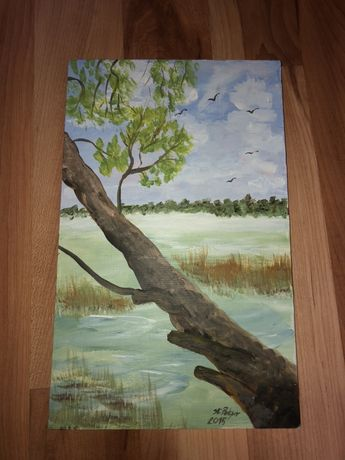 Obraz na desce drzewo jezioro niebo Stanisława Polcyn 35x21.5cm