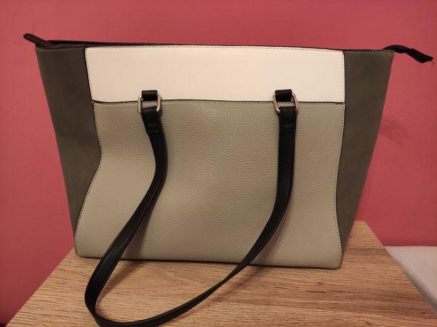 Nowa torebka szary srebrny na zamek shopper mieści A4