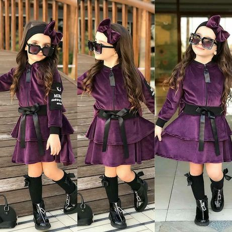 Велюровый костюм девочкам в двух цветах 2-5лет