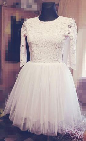 Sukienka tiulowa XS 34;152 pudrowy róż krótka koronka