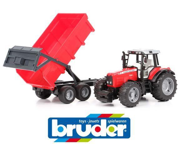 Brinquedo Bruder 02045 Trator Massey Ferguson 7480 com atrelado - NOVO