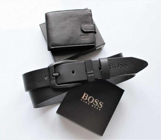 Мужской подарочный набор Hugo Boss ремень и кошелек черные