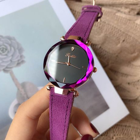 Zegarek damski na pasku pasek fiolet wrzos elegancki wodoodporny