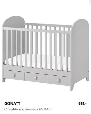 Ikea łóżeczko niemowlęce Gonatt szare z szufladami 120x60
