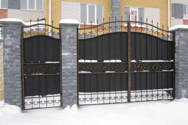 Решетки на окна. Металлические ворота. Навесы. Двери. Забор. Перила