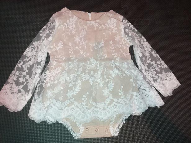 Nowa sukienka z koronką cudo, dla małej damy 1,5-2latka chrzest ślub