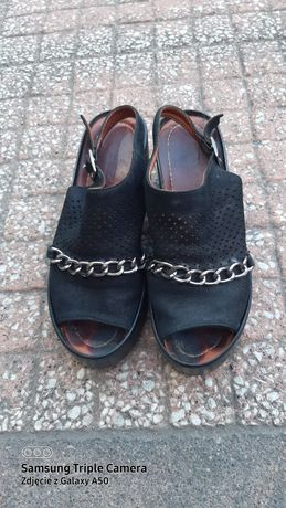 Buty sandały koturny platforma czarne skóra venezia roz 38