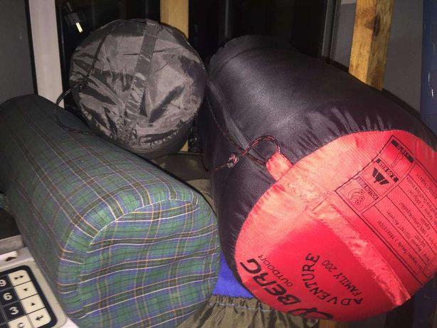 Conjunto de Tenda de Campismo + 2 saco cama + colchão