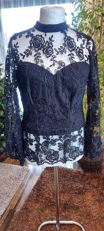 Bluzka czarna ,  gorsetowa z pięknej gipiury