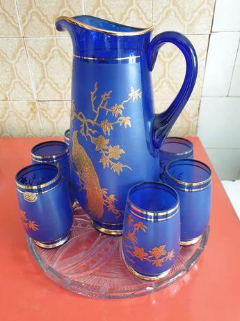 Набор посуды графин и 6 стаканов Золотой павлин .