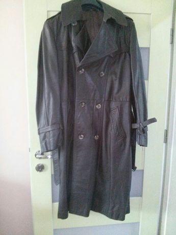 Płaszcz skórzany długi ciemny brąz