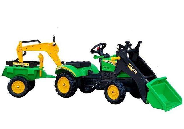 Traktor z Przyczepą i Łyżką na Pedały Benson 2 Kolory Darmowa Wysyłka