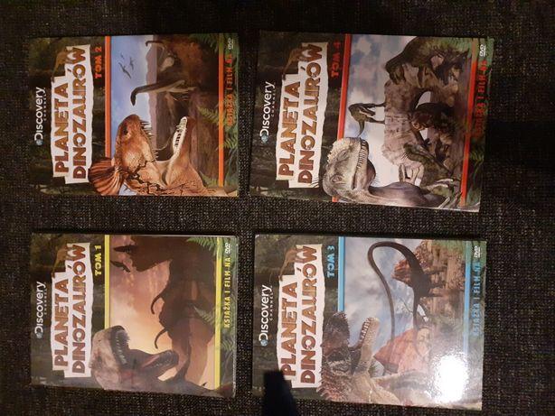 Książeczki o dinozaurach wraz z płytami 4 tamy
