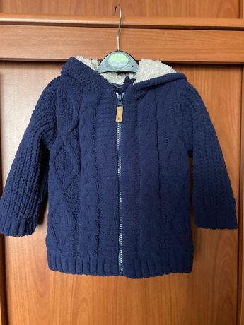 Next, granatowy, cieply, zasuwany sweter/bluza z kapturem, rozm. 86-92