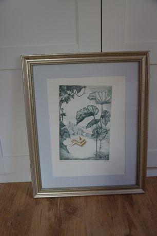 Piękna, stara grafika ze Szwecji w pięknej drewnianej ramie za szybą.