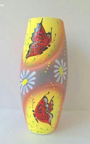 красивая, расписная глиняная ваза