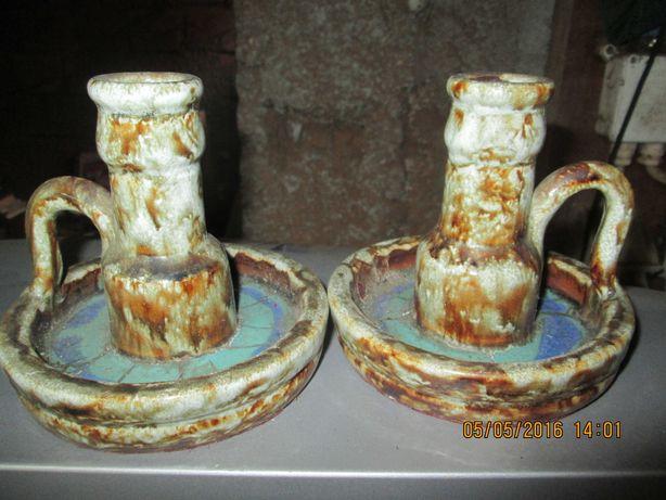 Castiçais de porcelana antigos