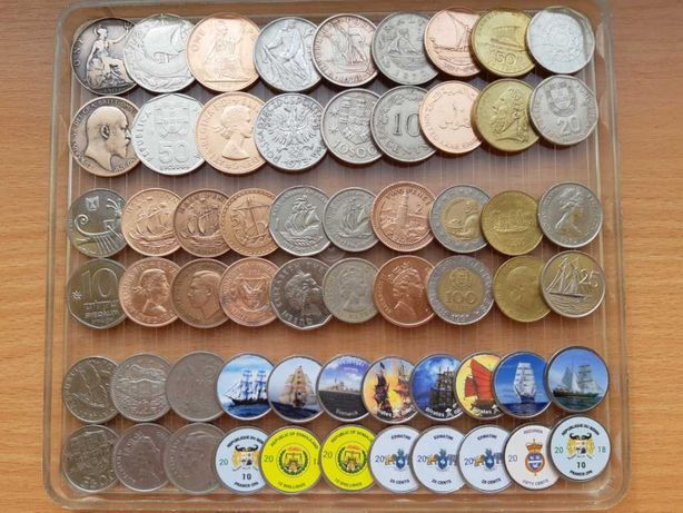 Монеты морской тематики. Экзотика без повторов. Набор №1