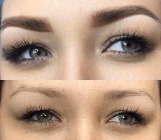 Перманентный макияж бровей ,пудровое напыление бровей-500грн.