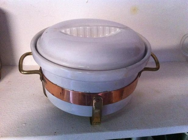 Caçarola em cerâmica e suporte em Cobre - Vintage