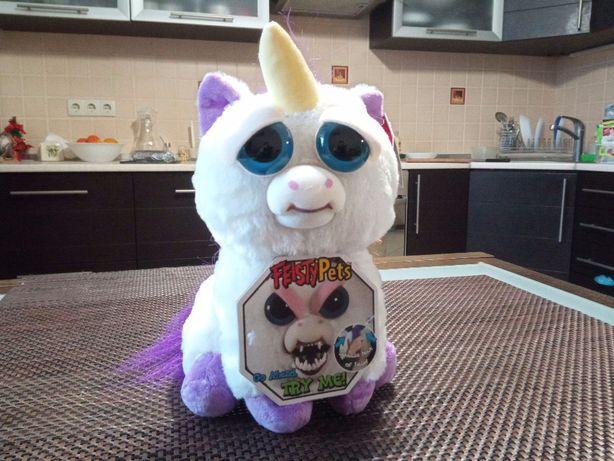 Интерактивная игрушка белый единорог из серии Feisty Pets
