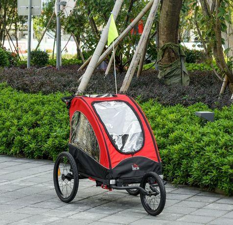 Przyczepka rowerowa dla 2 dzieci aluminiowa czerwono czarna