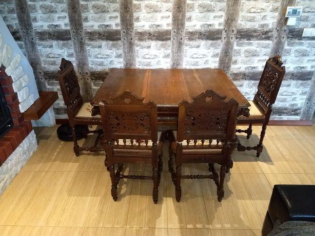Stół i 4 krzesła antyk