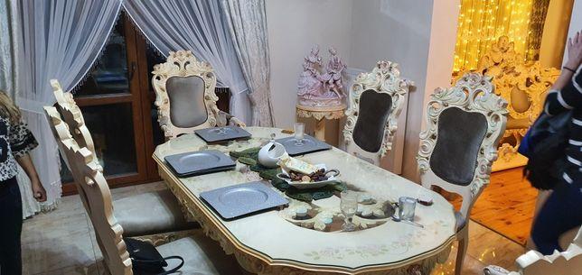 Stół rzeźbiony 6 krzeseł komoda z lustrem