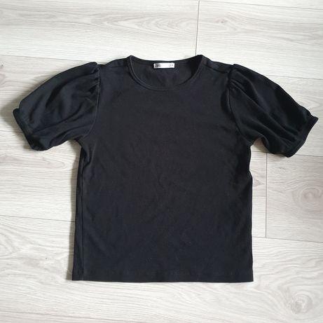 Koszulka bluzka czarna Zara bufiaste rękawy prążkowana L 40 Elastyczna
